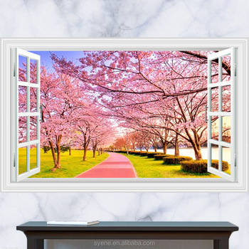 3d Beautiful Sakura Scenery Pink Flower Wall Stickers Home Decor