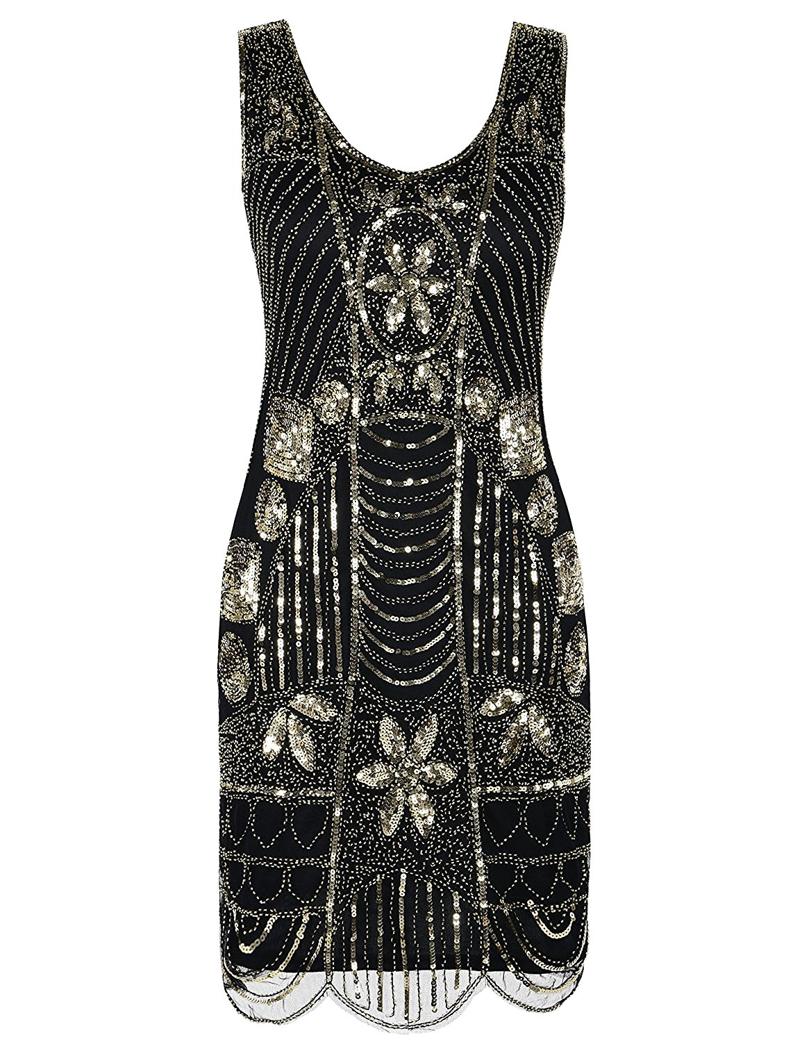 1a3473ccc2cc8 Get Quotations · PrettyGuide Women's 1920s Flapper Dress Gatsby Sequin  Scalloped Inspired Cocktail Dress