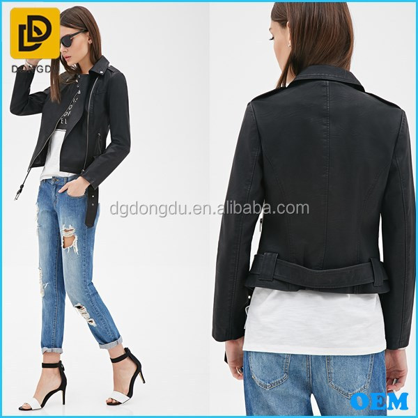 Fashionable Women's Cheap Leather Jacket From China Clothing ...