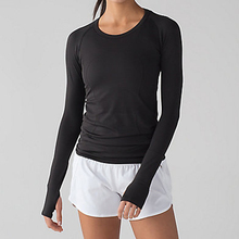 Women Thumb Hole Black Compression Wear Dry Fit Ladies Long Sleeve Sports Shirts Running Tops