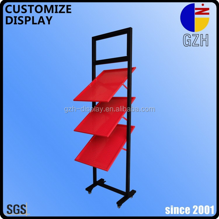 Automotive shop Multi-level steel shelf standing display racking for showing car mats
