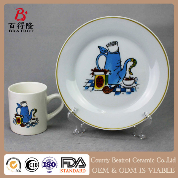 White glazed ceramic tableware coffee cup plate set