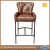 Metal Base Antique Real Leather Tufted Back Bar Stool