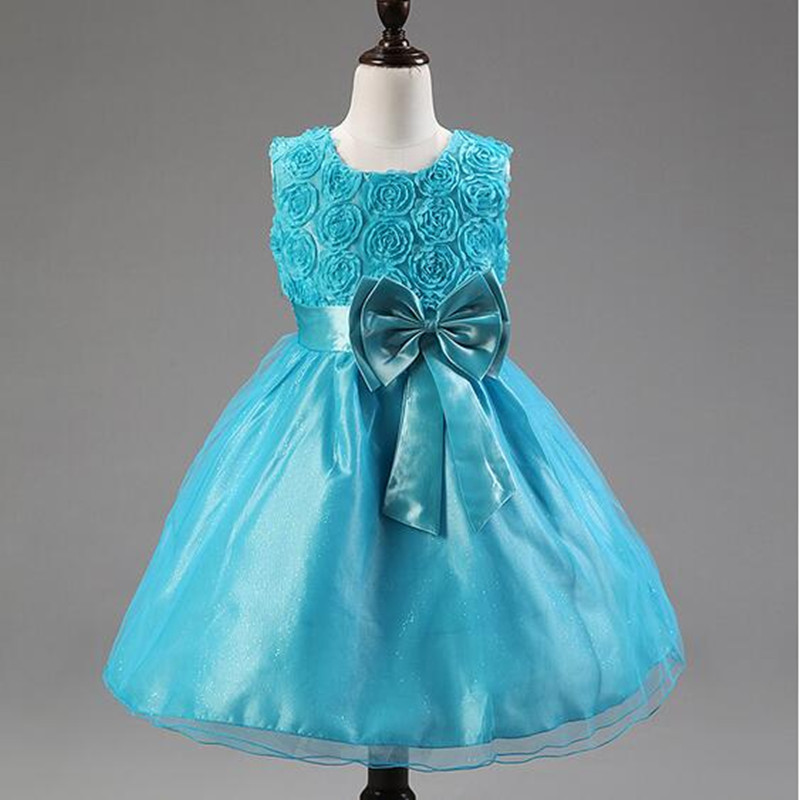 Free Shipping 2016 New Bowknot Rose Girls Dresses Children Wedding Princess Clothing Sleeveless Kids Formal Party