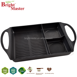 3section cast iron innovative grill pan