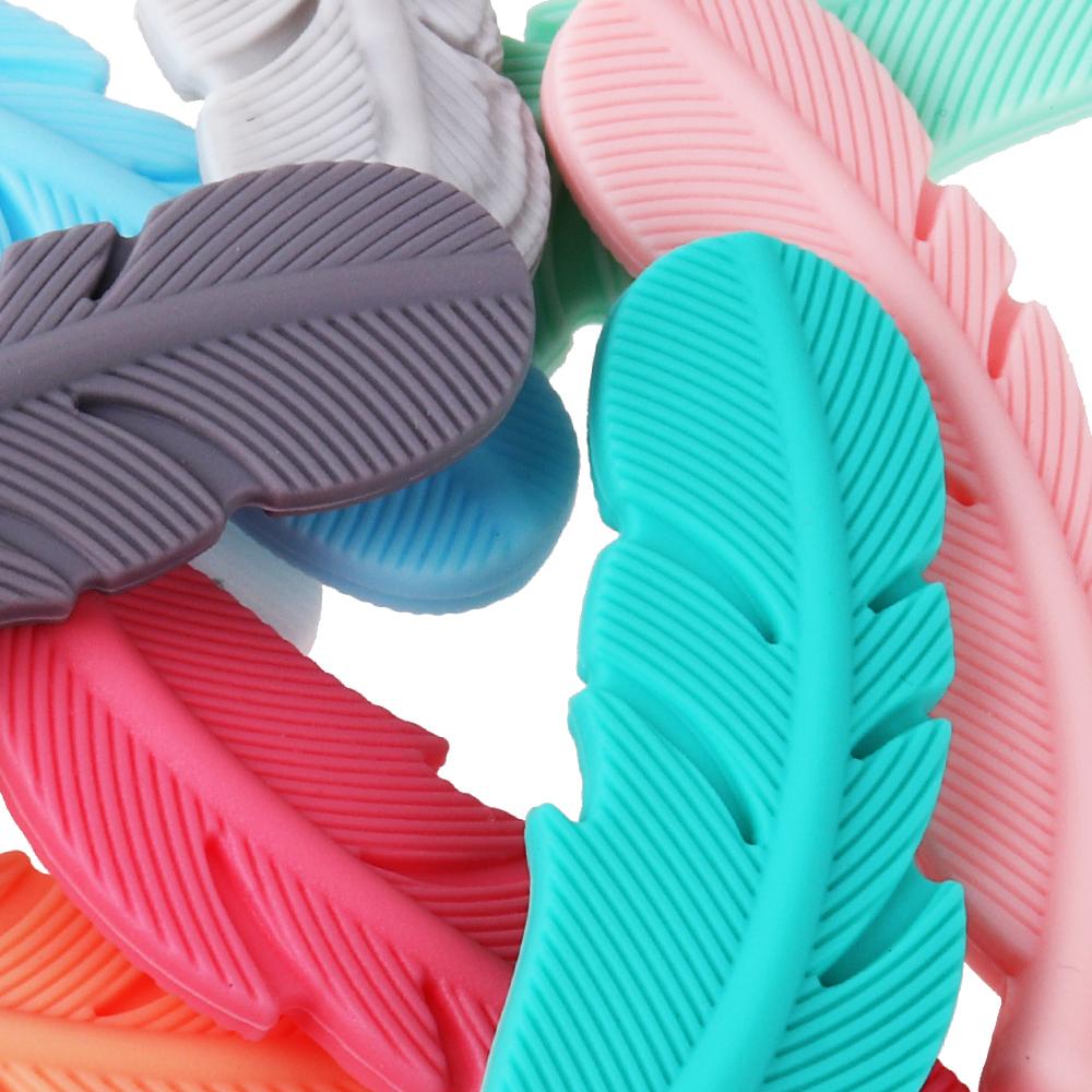 Silicone Feather Beads Verpleging Accessoires DIY Tandjes Ketting BPA Gratis Baby Dental Care Siliconen Bijtringen Kralen