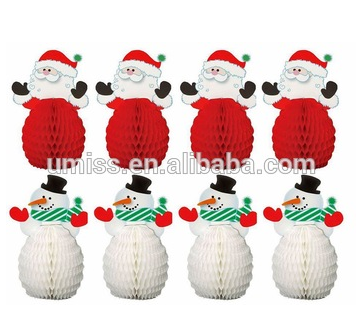 UMISS PAPER Santa And Snowmen Honeycomb Tissue Paper Holiday Decorations Bundle New Christmas