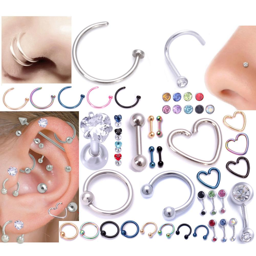 316l Stainless steel labret unique free lip ring piercing jewelry