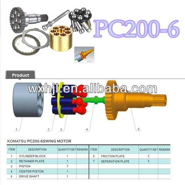 KOMATSU PC200-6 SWING MOTOR hydraulic piston pump parts