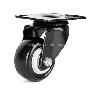 Mid-Light duty double ball bearing PU caster/Refrigerator casters wheels/Durable swivel casters