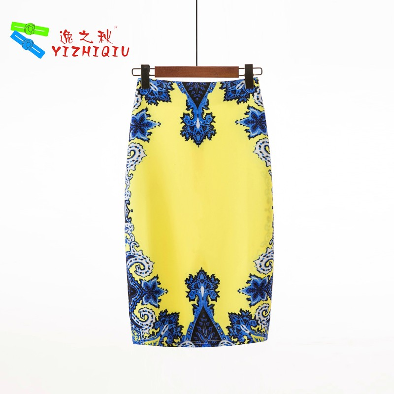 YIZHIQIU Flower Printed One Step High Waist Skirts