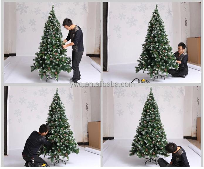 2 6m Bendable Christmas Tree White Tip Pvc Christmas Tree Pull Up  - Pull Up Christmas Trees