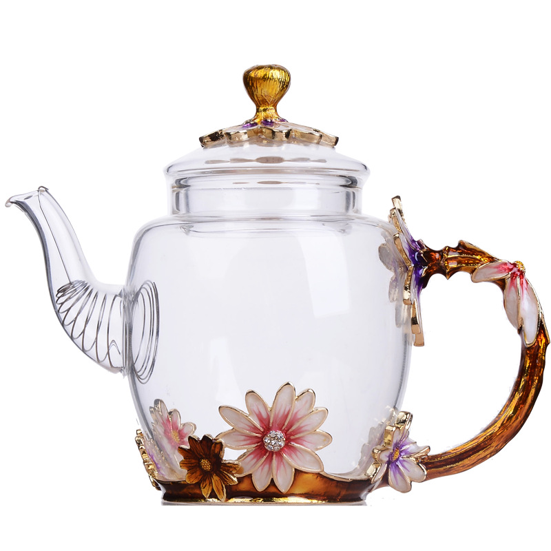 Factory direct creative hand-painted enamel color heat-resistant glass kungfu teapot single pot