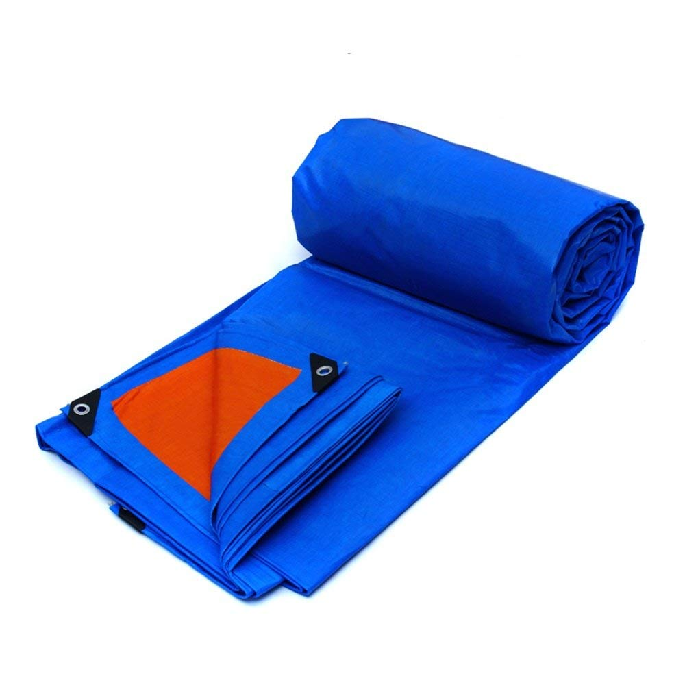 COZY HOME AAA Outdoor tarpaulin,vehicle cargo garden tourism picnic special waterproof sunscreen insulation dust-proof rain cloth, covering cloth (orange + blue) Size: 22m