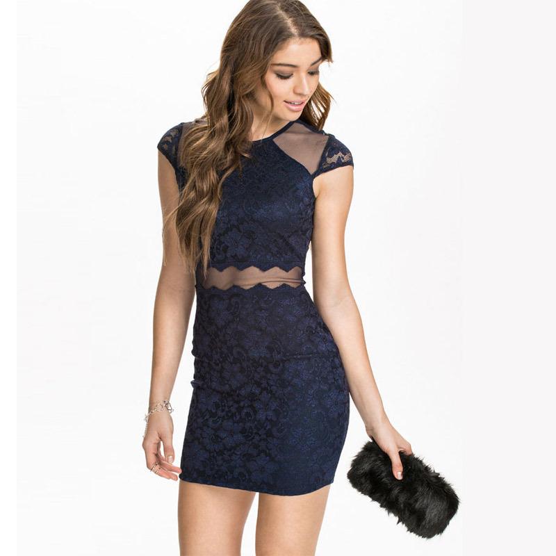 edb0fd9f91 Get Quotations · Navy Blue Short Sleeve Lace Insert Mesh Waist Bodycon Dress  2015 Women Elegant Party Dress Ladies
