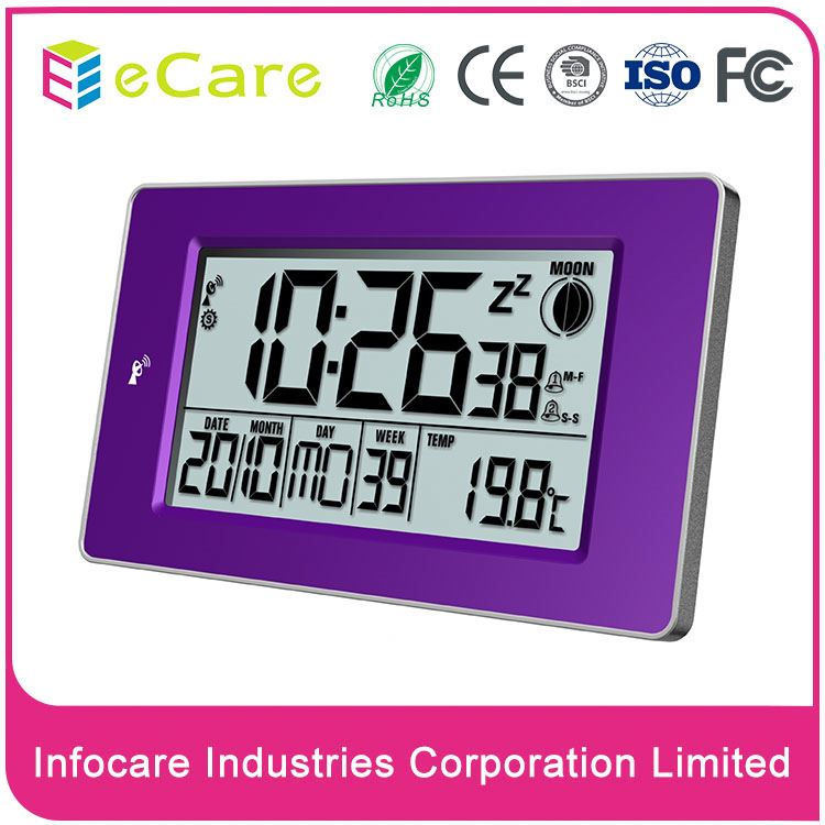 Adjustable large screen dcf-78 radio frequency wall controlled clock