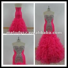 Fushia handmade sequence beading organza wedding dress bridal gown MD602