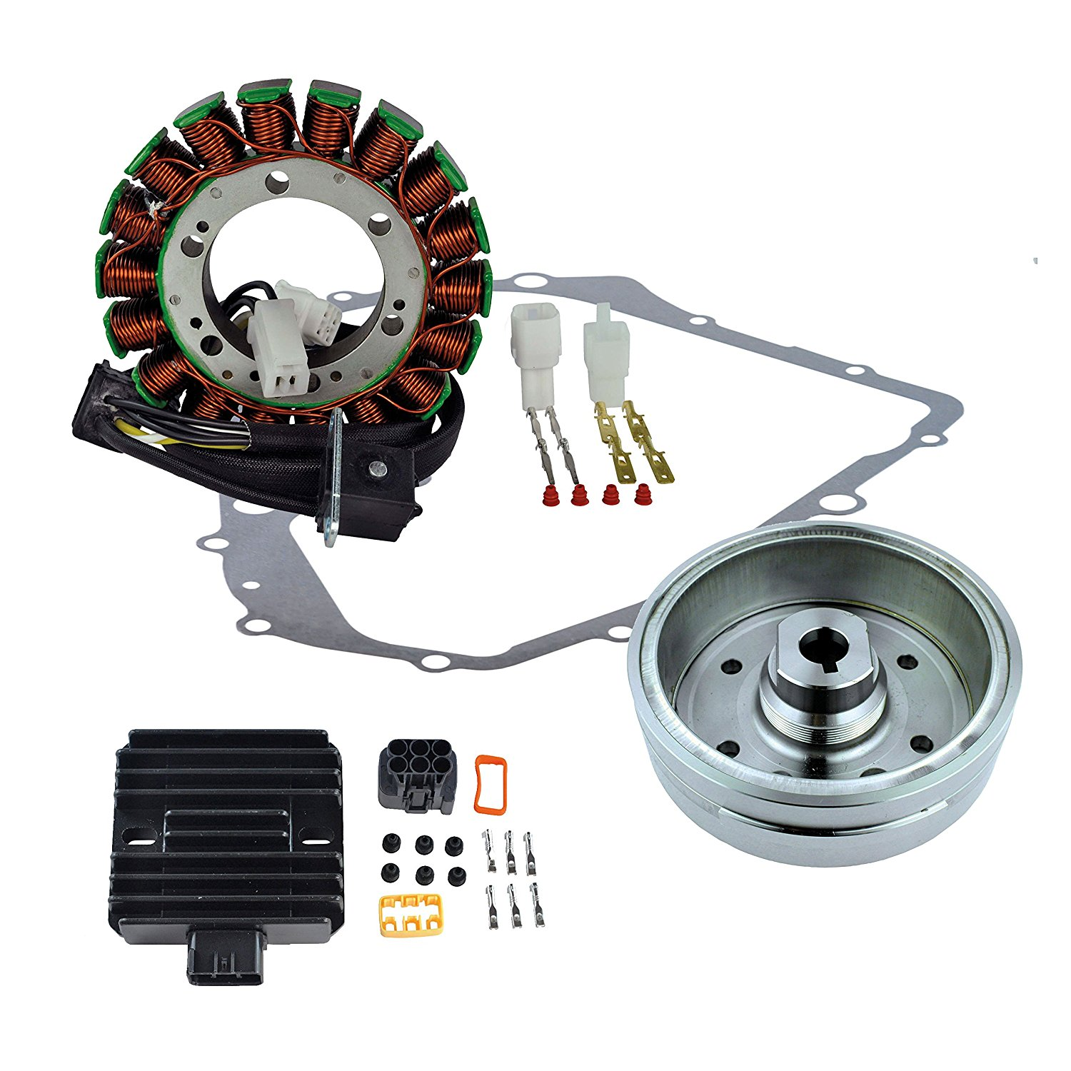Kit Stator + Improved Magneto Flywheel + Regulator Rectifier + Crankcase Cover Gasket For Suzuki LTA 400 Eiger 2002 2003 2004 2005 2006 2007