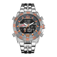 KAT-WACH 1802 Men Watch Wholesale Quartz Digital Dual Display Stainless Steel Watch Band