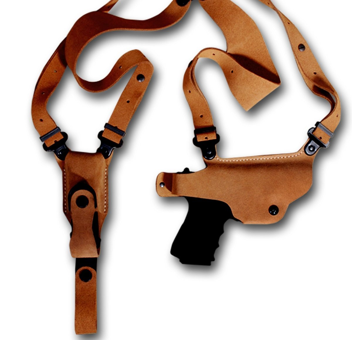 SHOULDER HOLSTER WITH SINGLE MAG CARRIER FOR CZ 75, CZ 75B, CZ 85, CZ 75 P01, CZ 75 P06, CZ 75 P07, CZ 75 SP01, CZ 75 P01, NATURAL BROWN-R/H (CZ 75/75B/85 4''BBL)