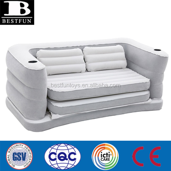 Inflatable Sofa Bed Flocking Pvc Fold Up Couch Plastic Furniture Air Chair