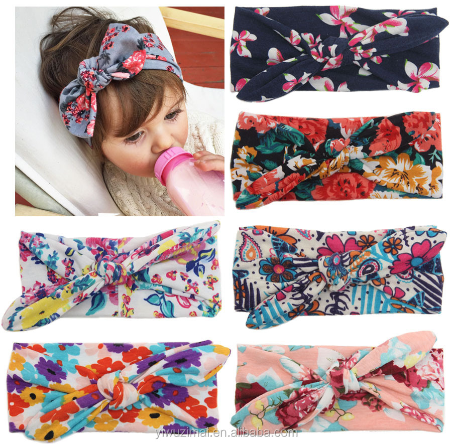 Baby Girl Newest Print Turban Headband Head Wrap Knotted Hair Band ... 4665e5a2015