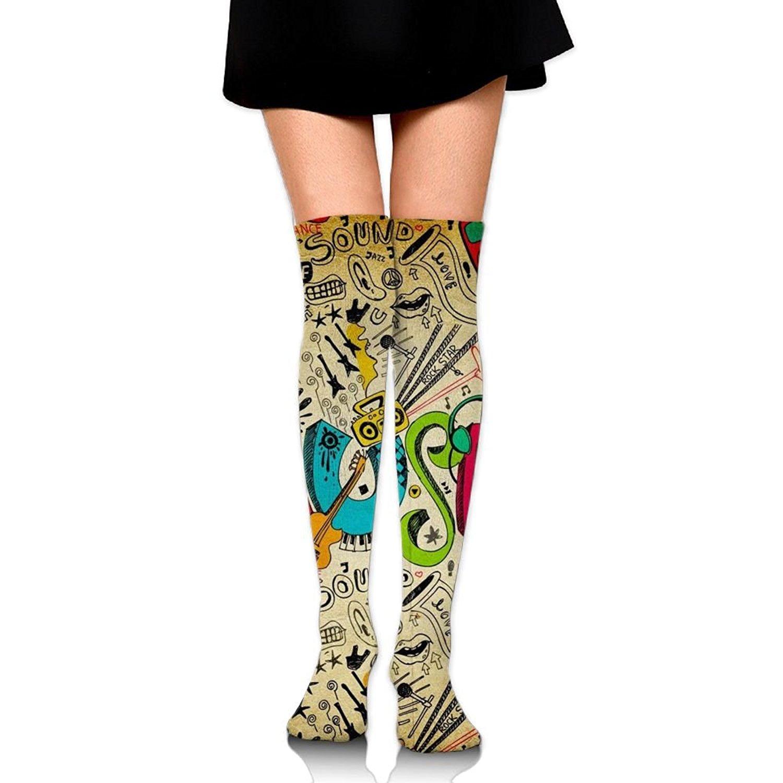 Zaqxsw Guitars Instrument Women Vintage Thigh High Socks Cotton Socks For Womens