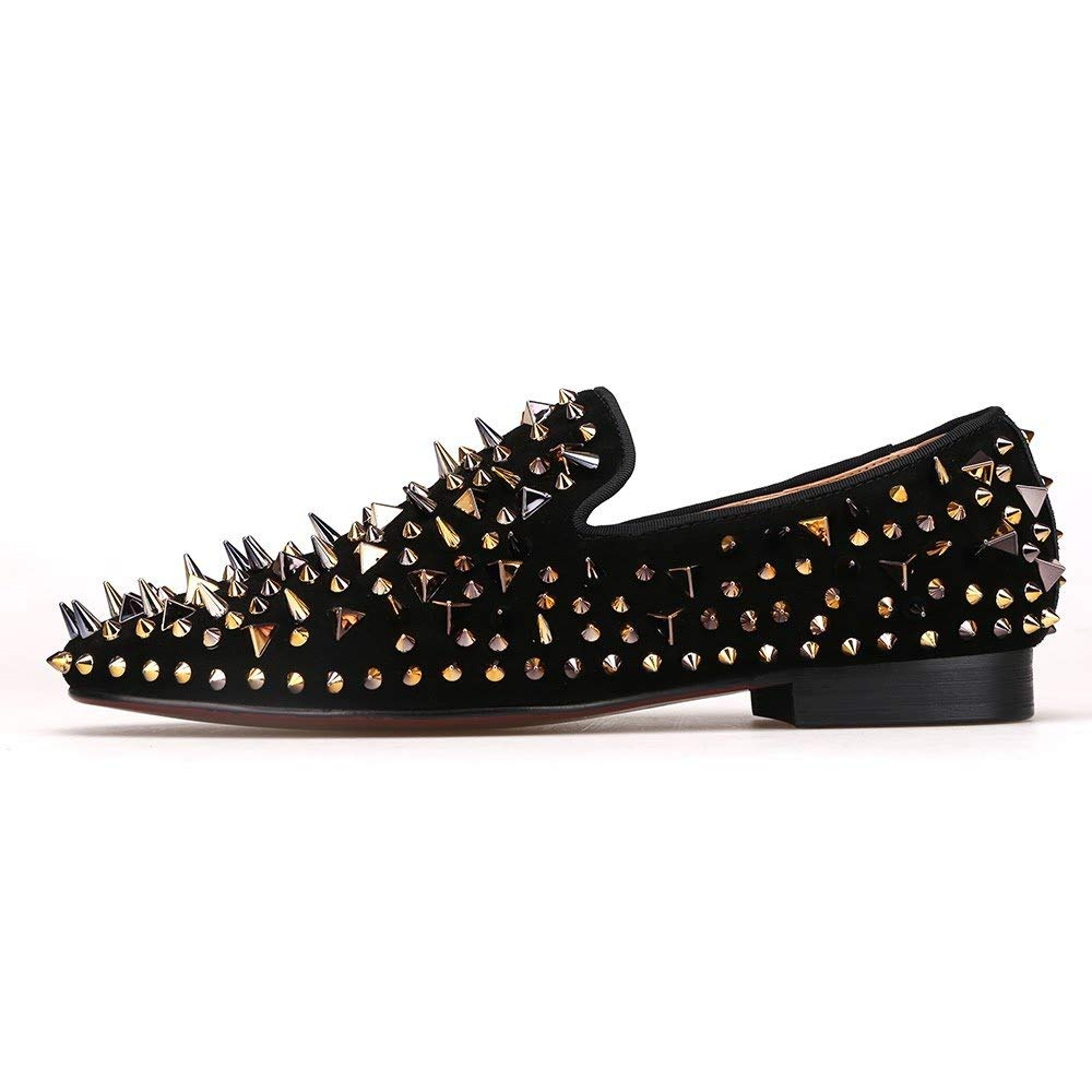 bcb27e2ad1e2 Get Quotations · Merlutti Black Loafers with Gold Rivet Suede Slip-on Rhinestone  Spiked Rivet Sparkly Shoes
