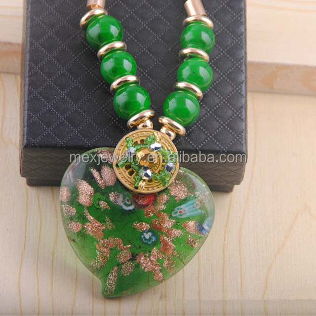 9fa5111ce2e2 Calidad Superior proveedor Chino trabajo hecho a mano multi colores corazón  forma COLLAR COLGANTE de Murano