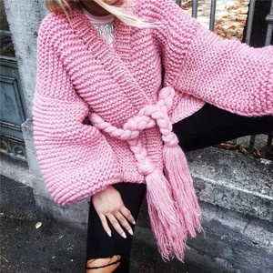 Overcoat ins Design Women Winter Loose oversize Sweater Batwing Sleeve Knit Lace Up belt tassel Casual Tops Ruffle cardigan coat