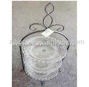 Centerpieces Celebrating 3 Tier Clear Glass Plate Decorative Metal Wedding Cake Stand