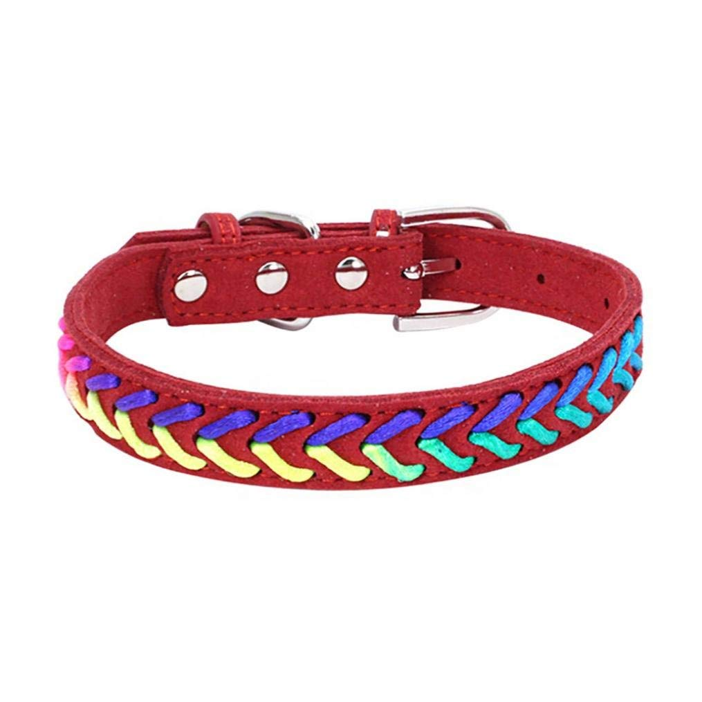 Axchongery Pet Collar,Exquisite Adjustable Dog Necklace Puppy Colorful Rope Chain (Red, XS = 301.5CM)