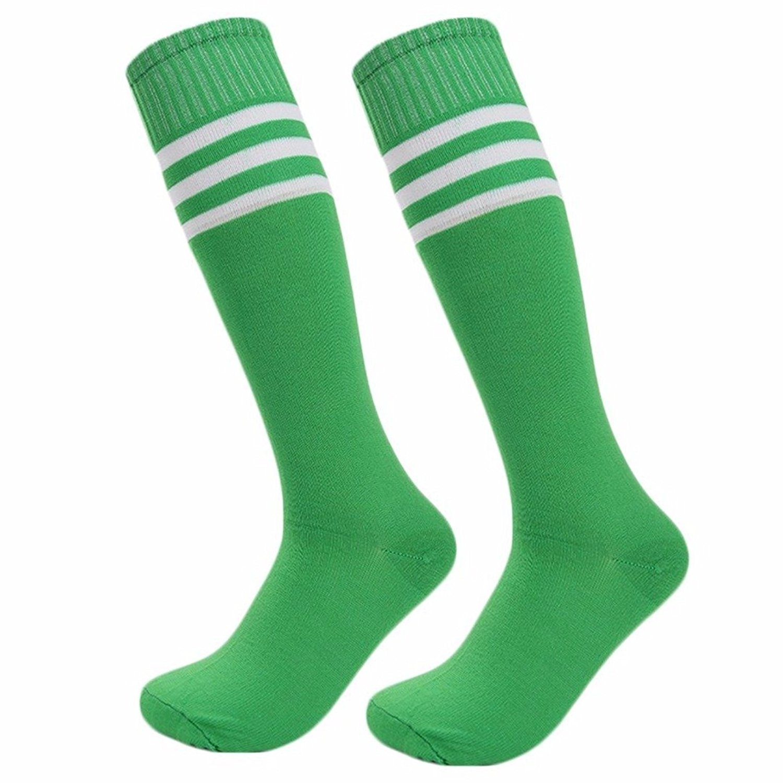 Unisex Knee High Triple Stripe Athletic Soccer Tube Boys Girls Kids Socks Youth Size