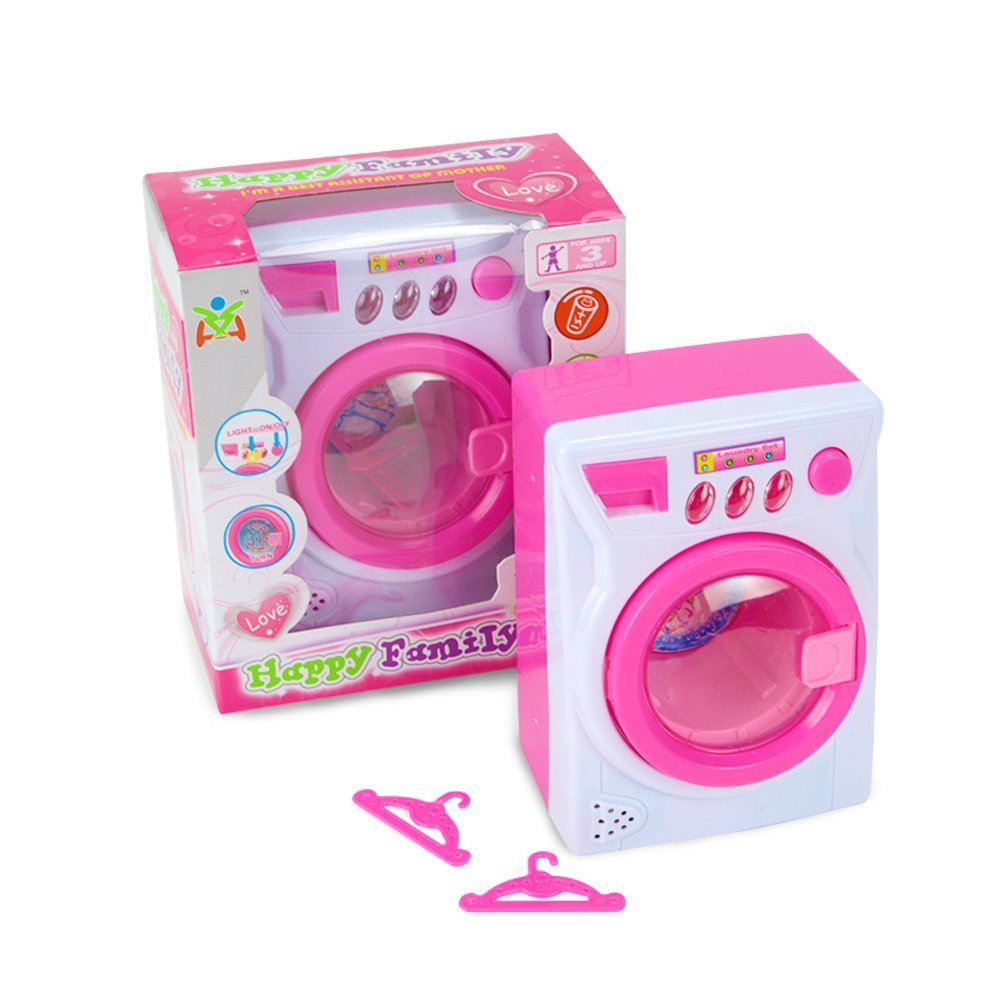 Tumama Pretend Play Battery Operated Laundry Toy Washing Machine Play Set w/ Lights, Sounds, Rotating Drum