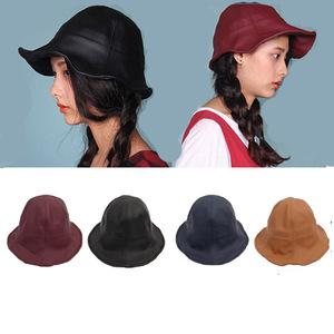 3aa778385ed Fashion plain blank design your own black leather cap short brim pu bucket  hat
