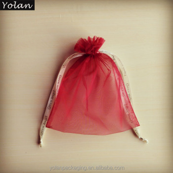 2017 new style Cherry red printed soft jewelry organza bag