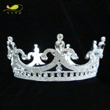 Princess Round Tiara Crown Clear Rhinestone Headband Miss Beauty Pageant Wedding Bridal Party Costumes Hair Accessory