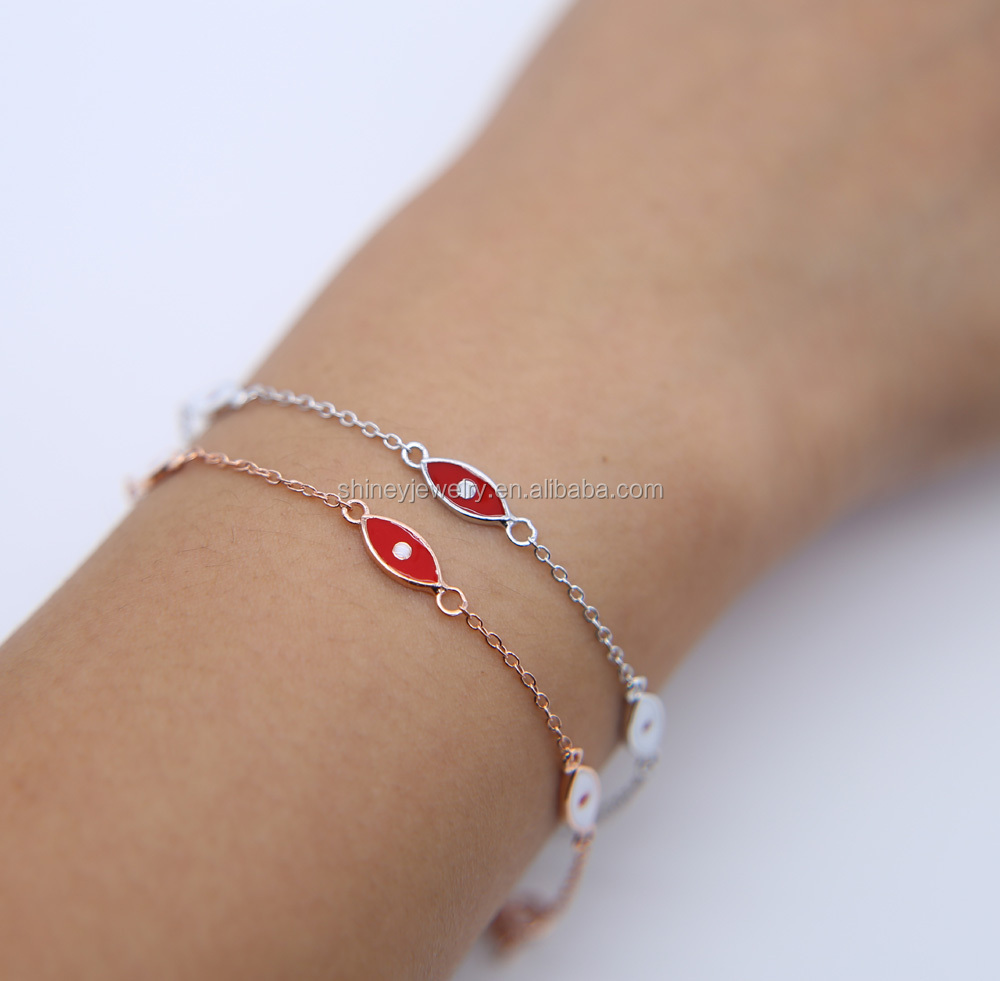 2017 factory 925 sterling silver factory wholesale drop shipping evil eye rose gold cute bracelet for children