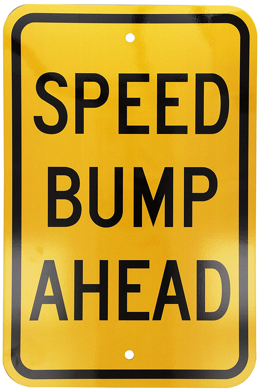 "SmartSign 3M Engineer Grade Reflective Sign, Legend ""Speed Bump Ahead"", 18"" high x 12"" wide, Black on Yellow"