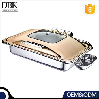 Heavy duty all stainless steel rectangular induction buffet chafing dish food warmer