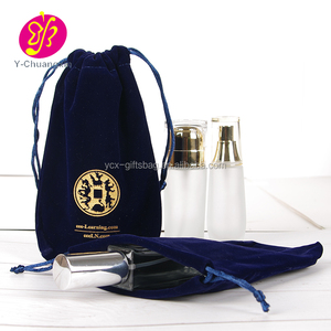 23 x 17 cm Navy Blue velvet drawstring perfume bottle pouch with Hot Stamping