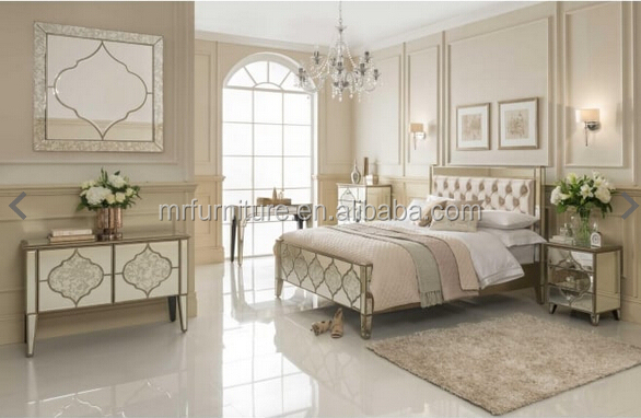 Contemporary Design Top Quality Mirror Queen Size <strong>Bed</strong> With bedboard