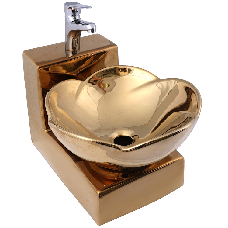 Factory Direct Sales Gold Pedestal Ceramic Water Wash Basin