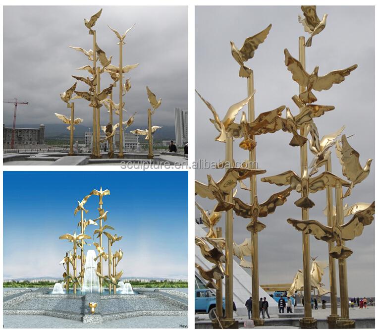 estatuas del jardn de esculturas de acero inoxidable moderna de oro flying bird esculturas para decoracion
