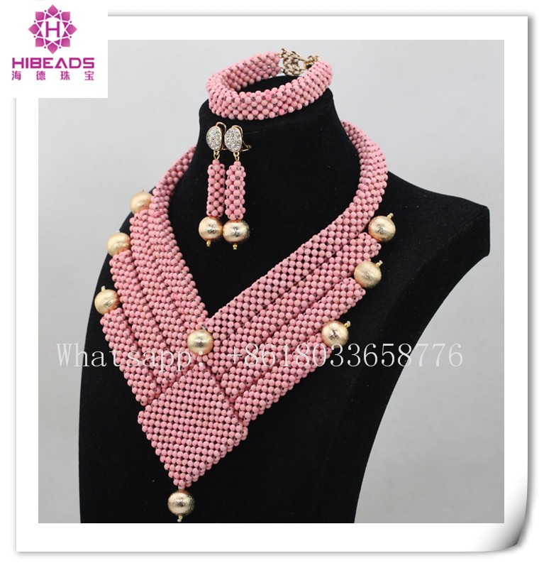 fashion unique pink latest design beads necklace nigerian wedding beads jewelry set