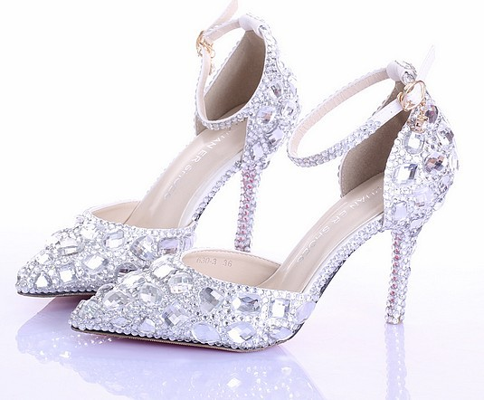 Get Quotations · prom heels rhinestone pumps woman wedding shoes white  bride crystal red bottoms platform party pumps stiletto 131195d560b8