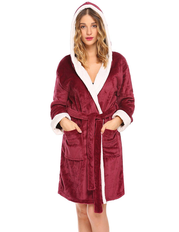 Get Quotations · Hotouch Womens Hooded Bathrobe Fleece Robe Super Soft  Plush Robe Velour Bathrobe 116bfdbfa