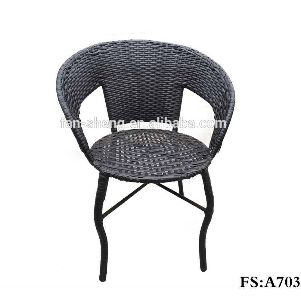 OUTDOOR/INDOOR STACKABLE OFFICE CHAIR WITH ARMREST PE RATTAN FURNITURE
