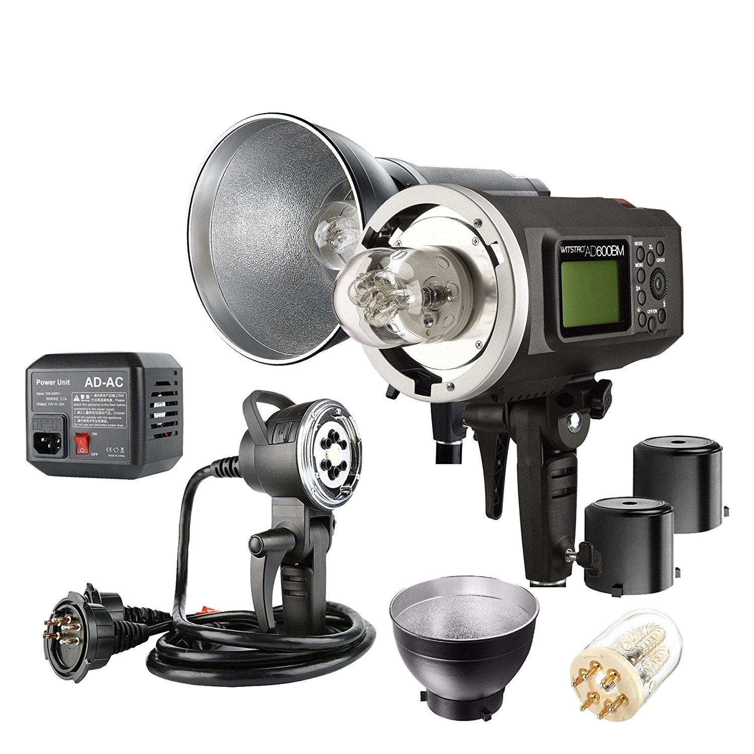 Godox AD600BM 600WS HSS 1/8000s 2.4G Wireless Outside Studio Flash Light 8700mAh Battery with 1200W Portable Flash Head Bowens Mount and Bare Bulb Flash Tube ,AC Wall Adapter
