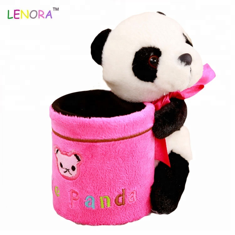 China animals panda pen tube plush toy office stationery tube children's activities gifts plush characters panda toy